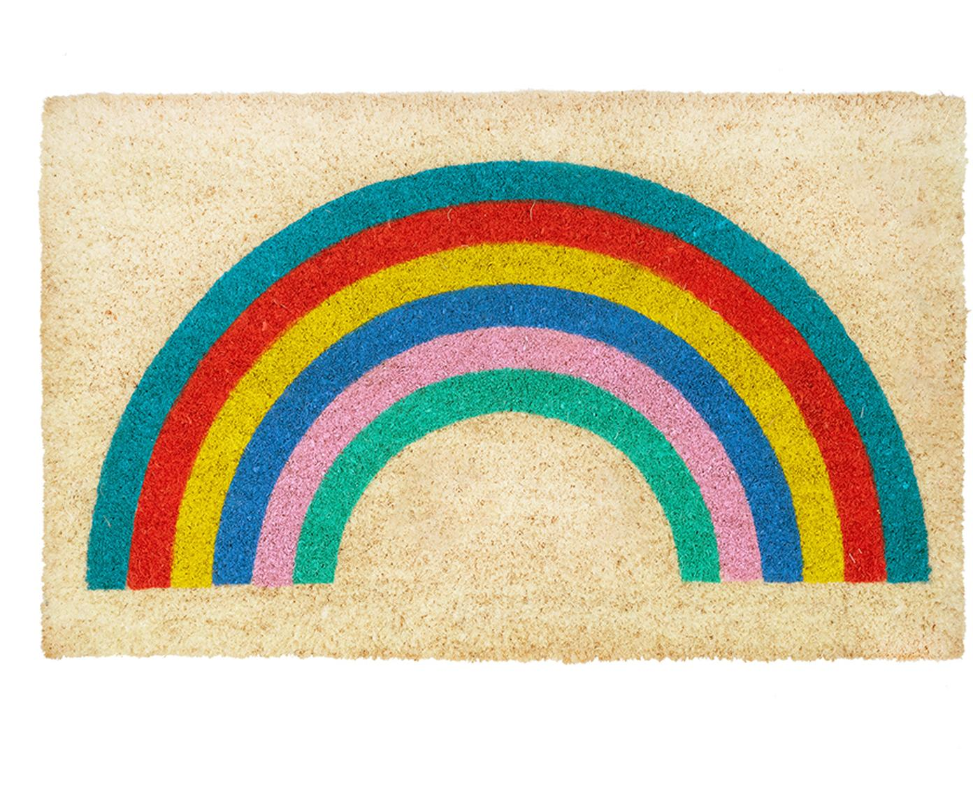 Felpudo Rainbow, Parte superior: fibras de coco, Reverso: plástico (PVC), Beige, multicolor, An 45 x L 75 cm