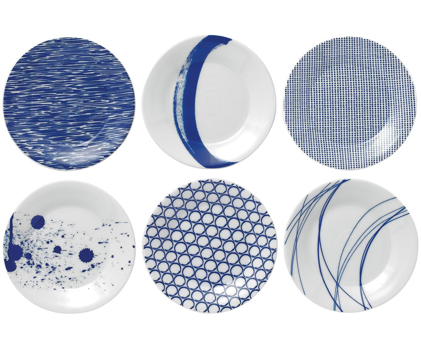 Gemusterte Porzellan-Brotteller Pacific, 6er-Set, Porzellan, Weiß, Blau, Ø 16 cm
