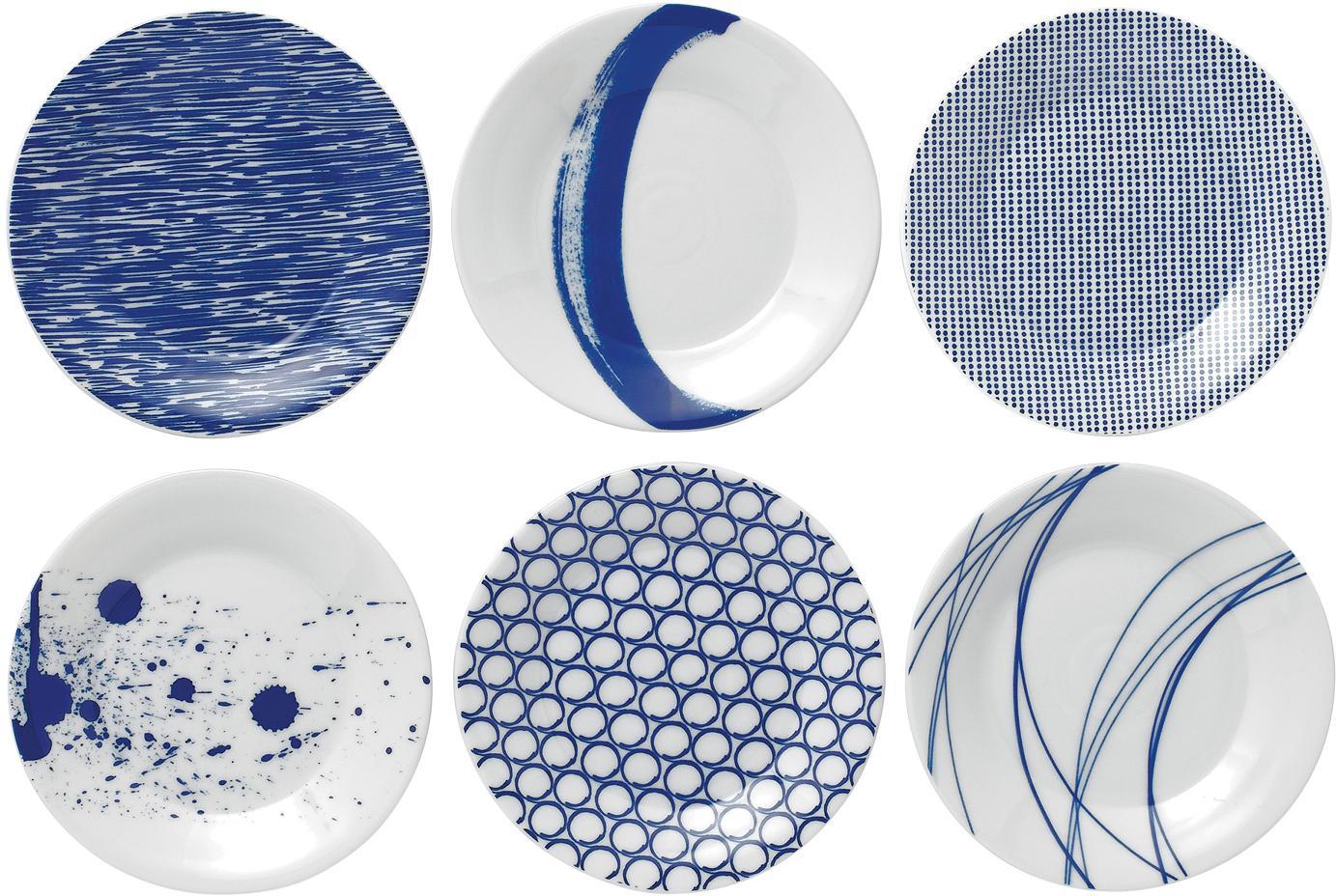 Porseleinen ontbijtbordenset Pacific met patroon, 6-delig, Porselein, Wit, blauw, Ø 16 cm