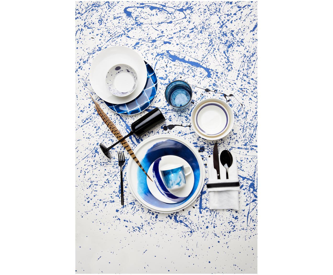 Set 6 piatti per pane Pacific, Porcellana, Bianco, blu pacifico, Ø 16 cm