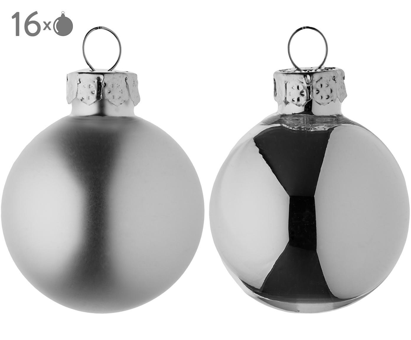 Mini-kerstballenset Evergreen, 16-delig, Zilverkleurig, Ø 4 cm