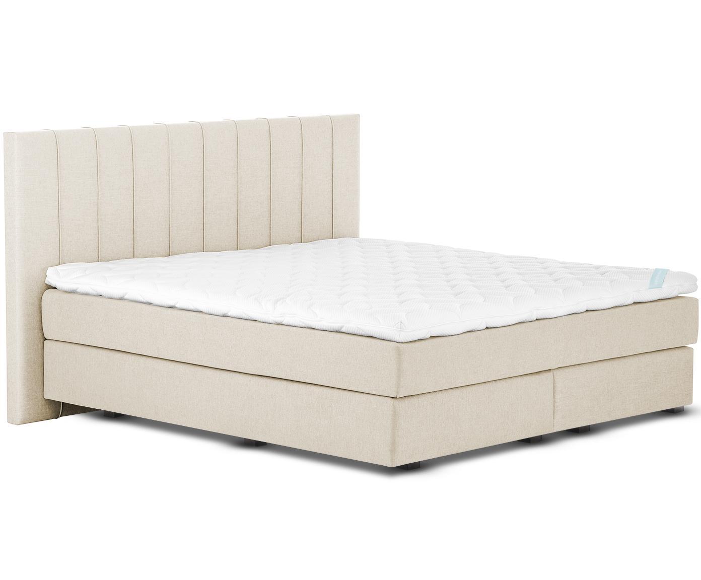 Premium boxspring bed Lacey, Matras: 7-zones-pocketveringkern , Poten: massief gelakt beukenhout, Beige, 180 x 200 cm