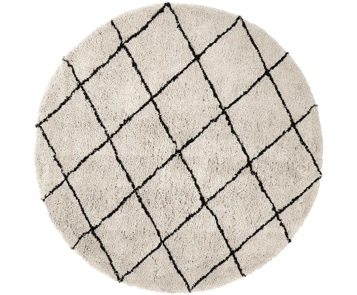 Okrągły ręcznie tuftowany dywan z frędzlami Naima, Beżowy, czarny, Ø 200 cm  (Rozmiar L)