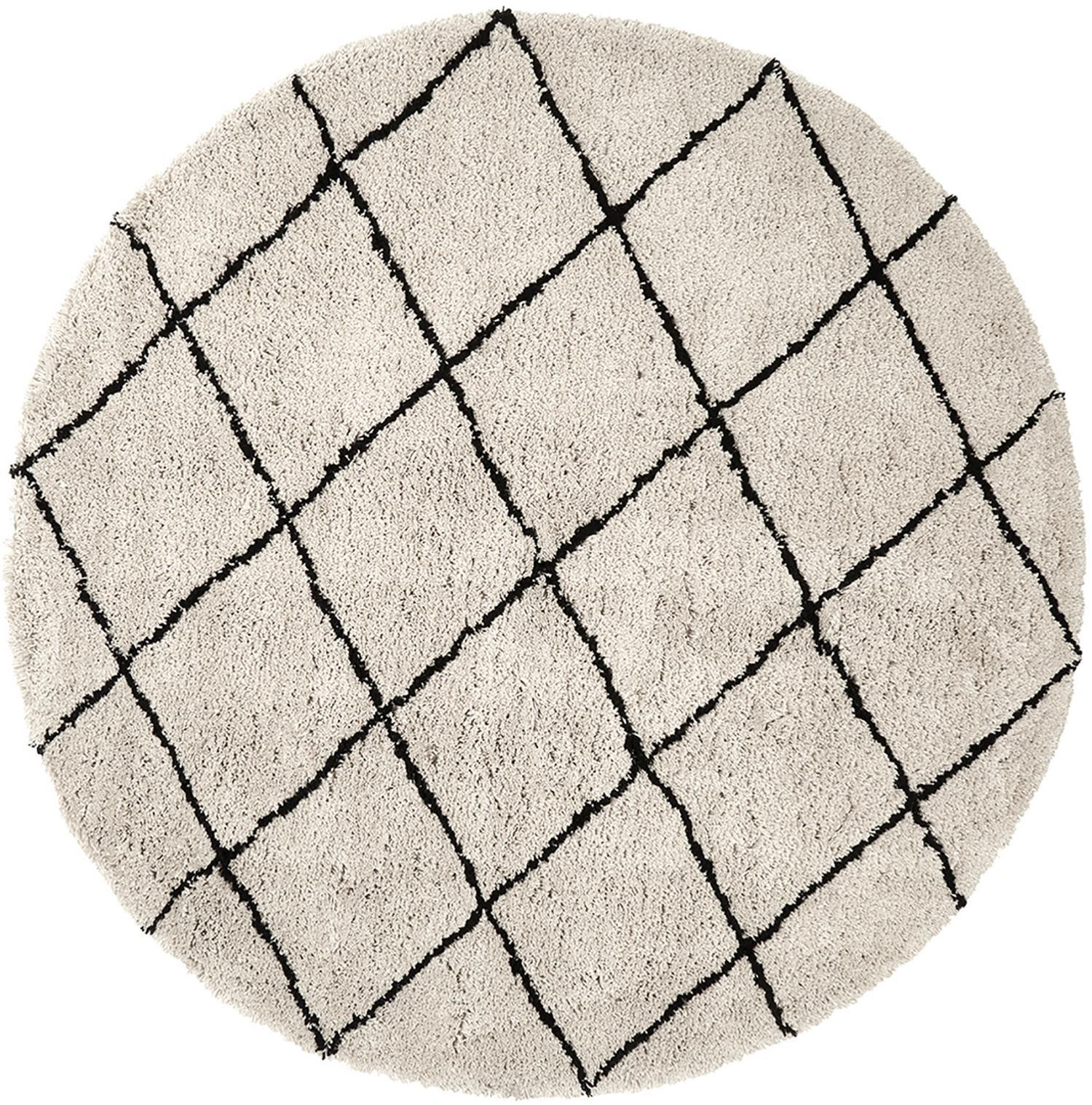 Runder flauschiger Hochflor-Teppich Naima, handgetuftet, Flor: Polyester, Beige, Schwarz, Ø 200 cm (Grösse L)