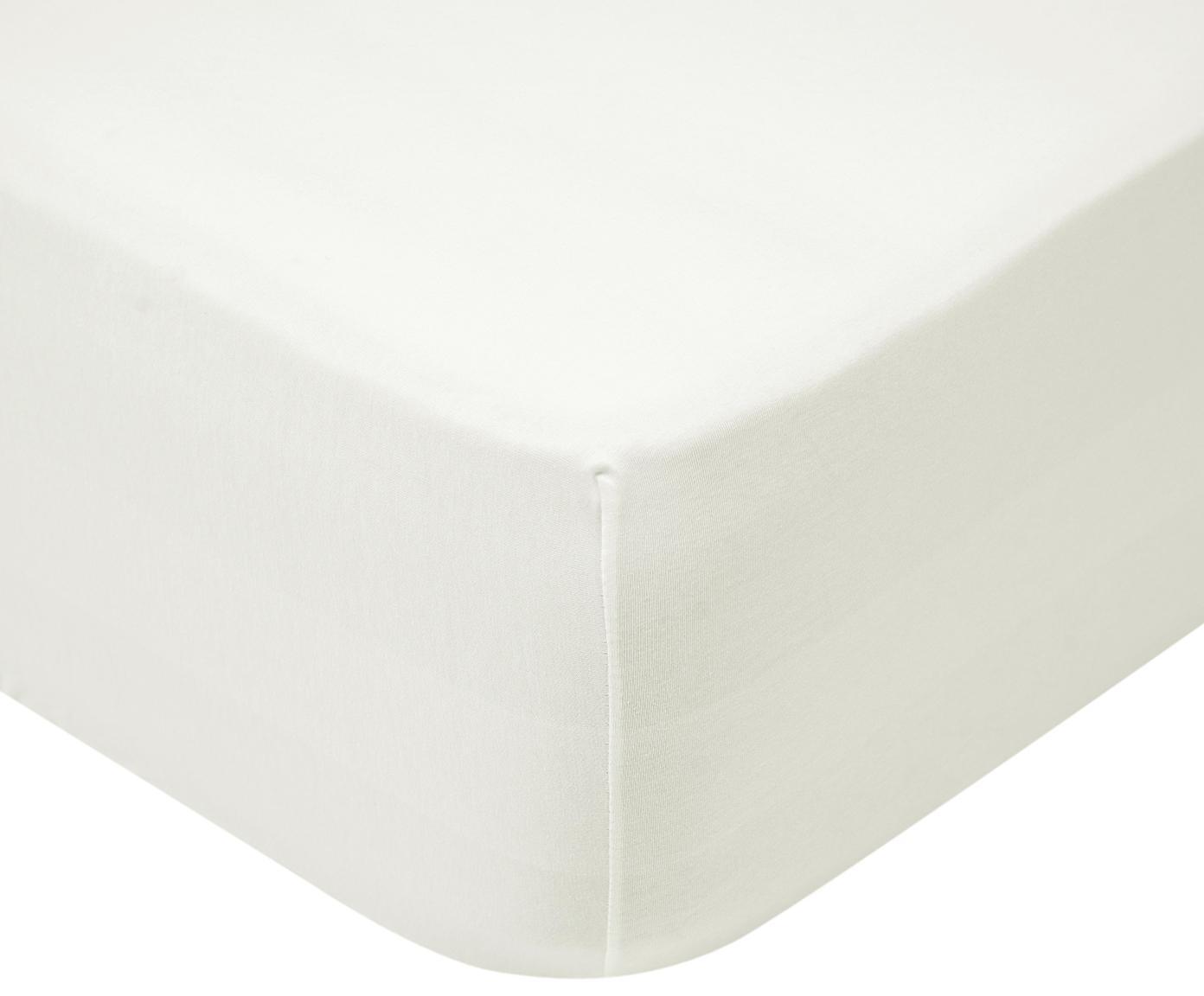 Jersey hoeslaken Lara, 95% katoen, 5% elastaan, Crèmekleurig, 90 x 200 cm