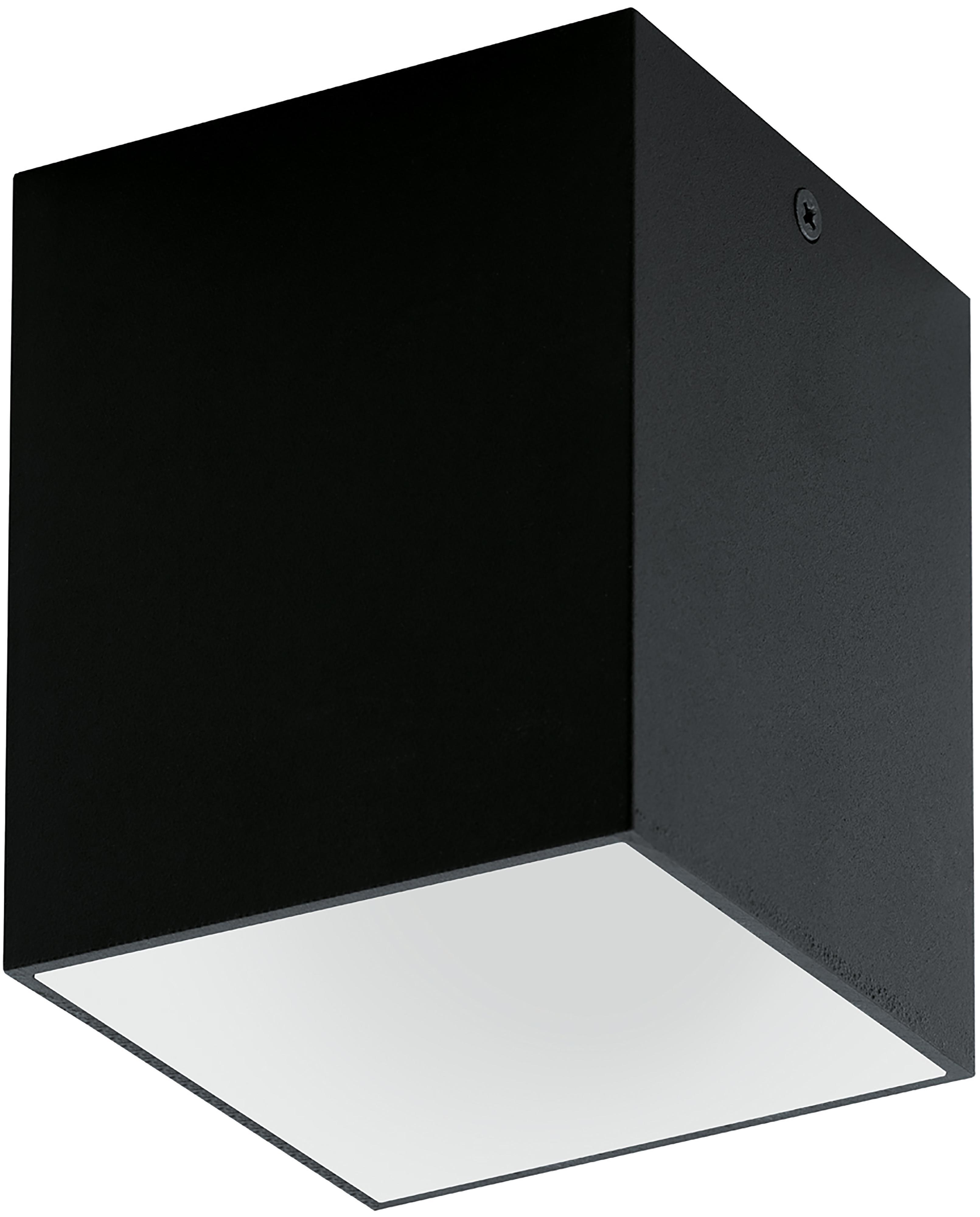 Plafondlamp Marty, Gepoedercoat metaal, Zwart, wit, 10 x 12 cm