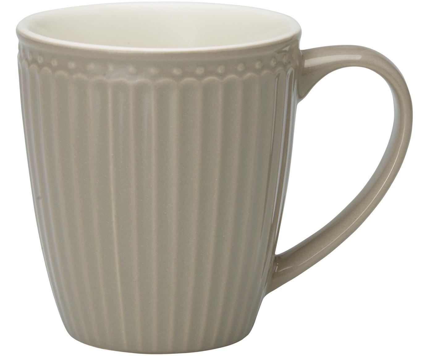 Handgefertigte Tassen Alice in Grau mit Reliefdesign, 2 Stück, Steingut, Grau, Ø 10 x H 10 cm