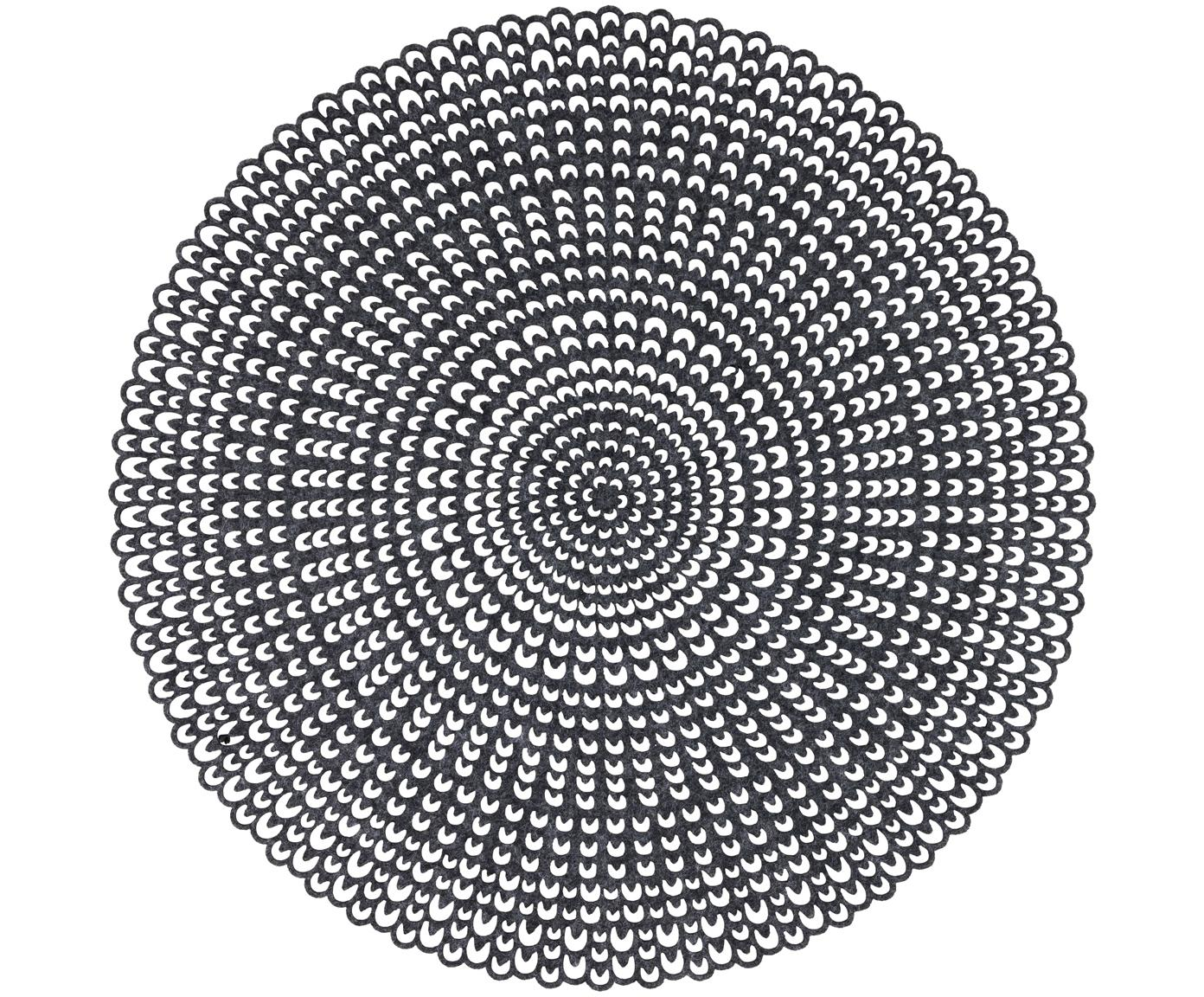 Tischsets Tarragona, 4 Stück, Polyesterfilz, Dunkles Grau, Ø 38 cm
