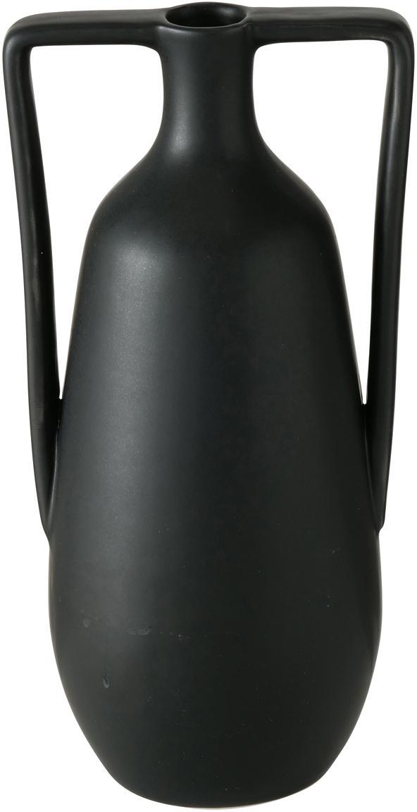 Handgefertigte Steingut-Vase Melax, Steingut, Schwarz, 11 x 20 cm