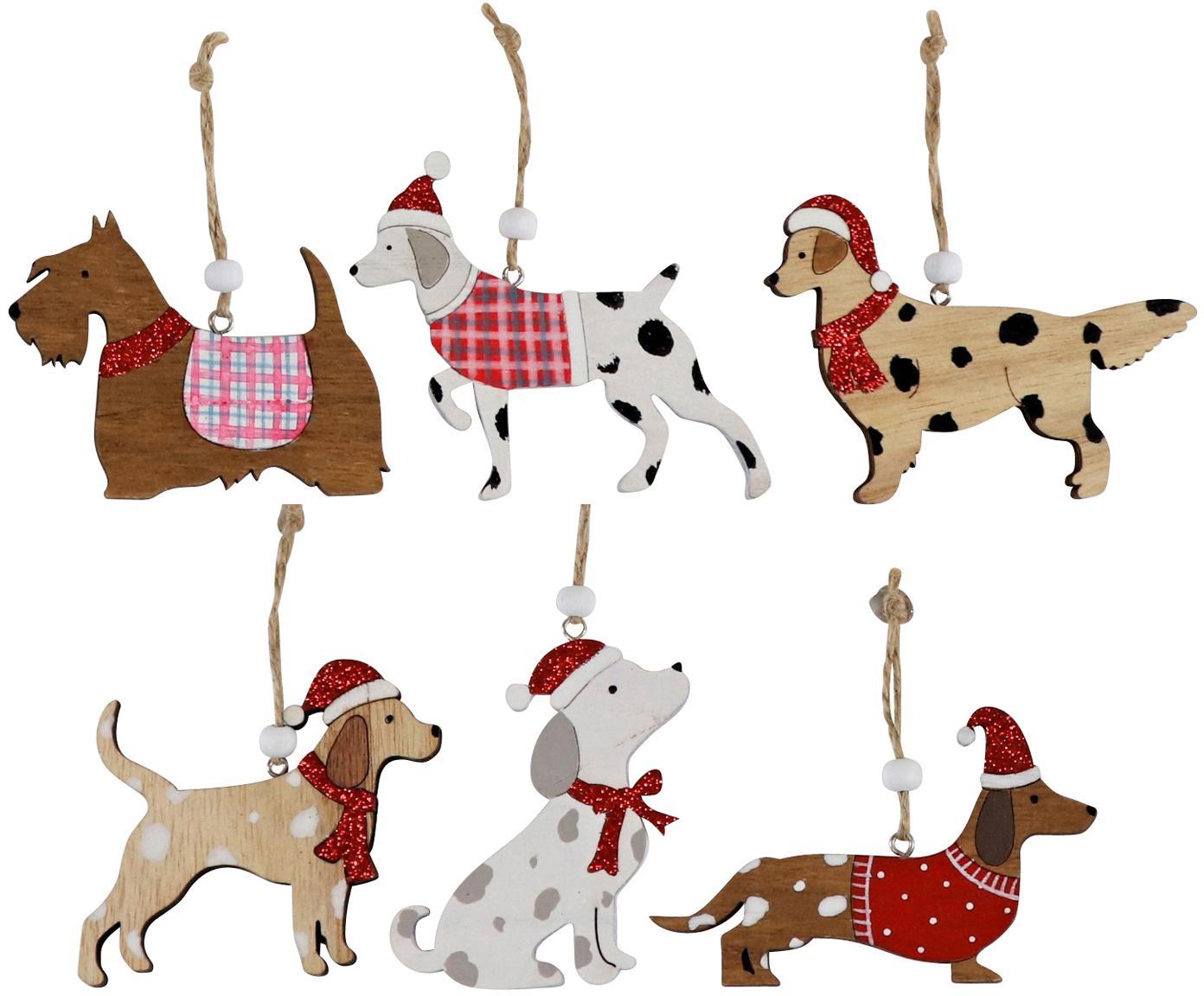 Houten kerstboomhangersset Christmas Dogs, 12-delig, Hout, Multicolour, 11 x 8 cm