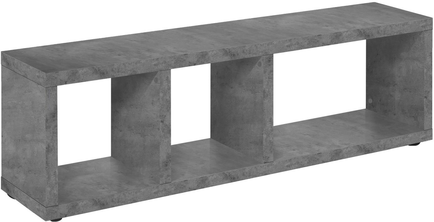 TV-Konsole Berlin in Beton-Optik, Korpus: Spanplatte in Leichtbau-W, Oberfläche: Melaminschicht., Grau, 150 x 45 cm