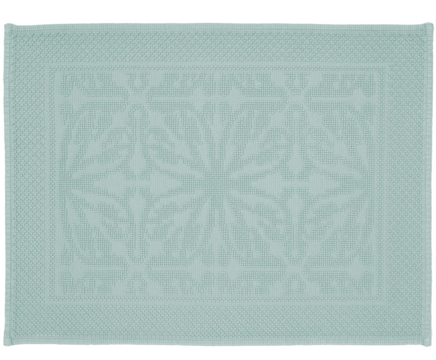 Badvorleger Hammam mit Hoch-Tief-Muster, 100% Baumwolle, schwere Qualität, 1700 g/m², Mintgrün, 60 x 80 cm