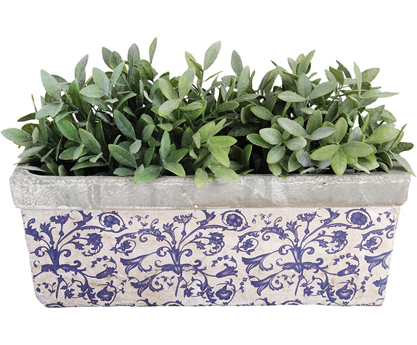 Übertopf Adela, Keramik, Blau, Grau, gebrochenes Weiß, 40 x 15 cm