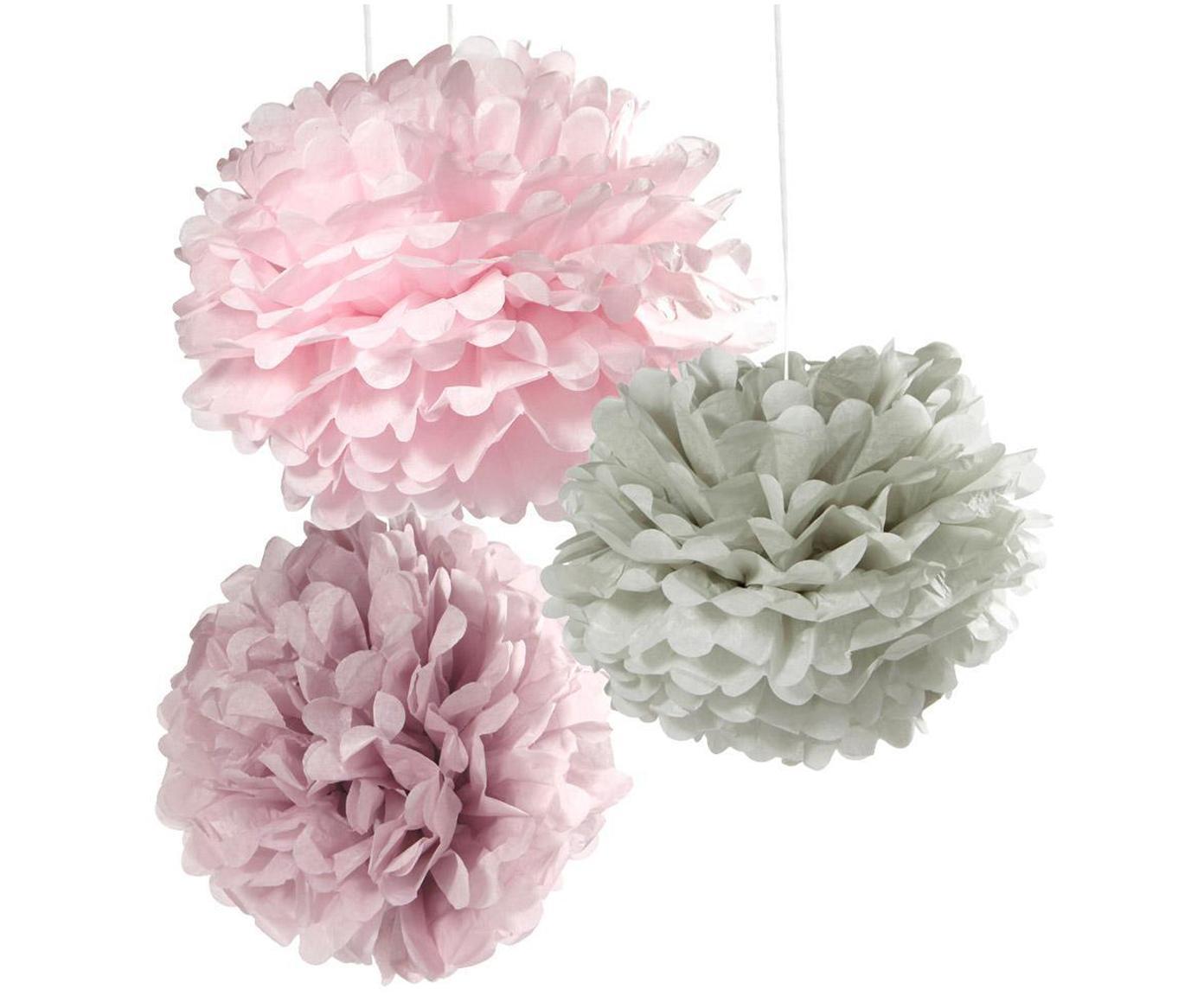 Set pompon Decadent, 3 pz., Carta, Rosa, grigio, lilla, Diverse dimensioni