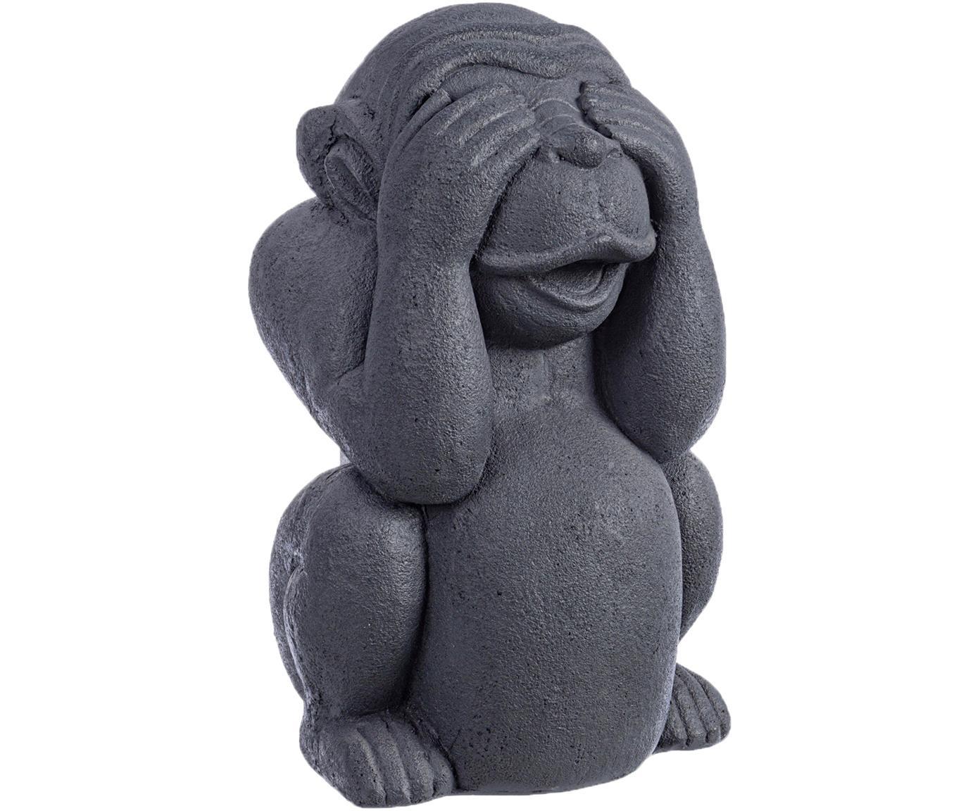 Figura decorativa Monkey, Hormigón recubierto, Gris antracita, An 22 x Al 36 cm