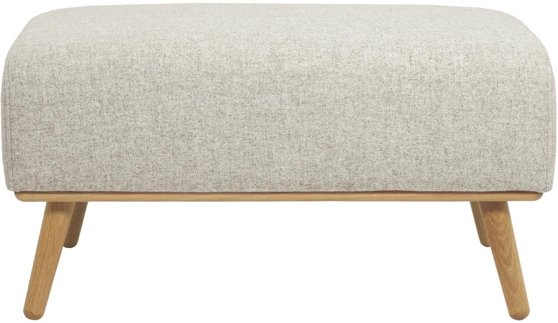 Poggiapiedi con rivestimento in lana beige Archie, Rivestimento: 100% lana 30.000 cicli di, Struttura: legno di pino, Piedini: legno di quercia massicci, Beige, Larg. 87 x Alt. 45 cm