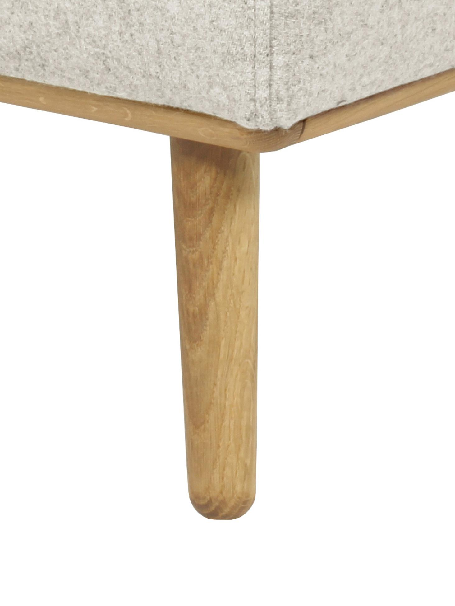 Hocker Archie mit Wollbezug, Bezug: 100% Wolle 30.000 Scheuer, Gestell: Kiefernholz, Füße: Massives Eichenholz, geöl, Webstoff Beige, 87 x 45 cm