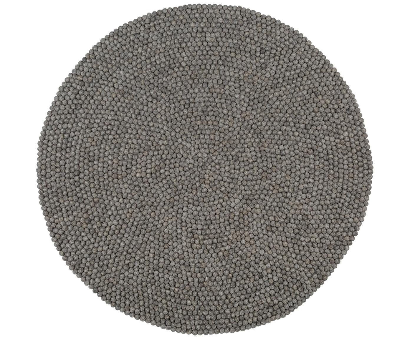 Runder Wollteppich Dot, handgenäht, Stahlgrau, Ø 90 cm (Größe XS)