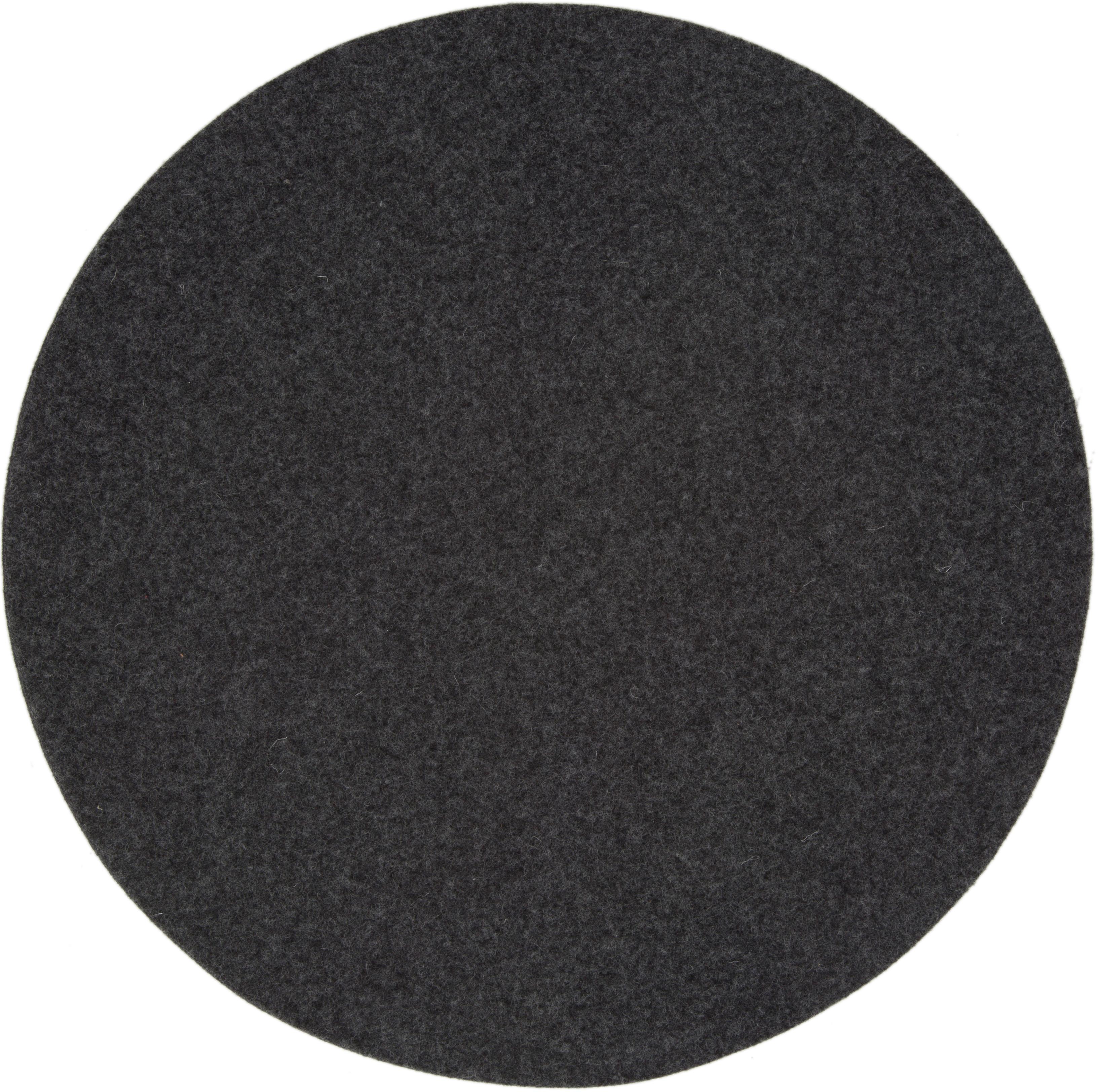 Ronde wolvilt placemats Leandra, 4 stuks, 90% wol, 10% polyethyleen, Antraciet, Ø 40 cm