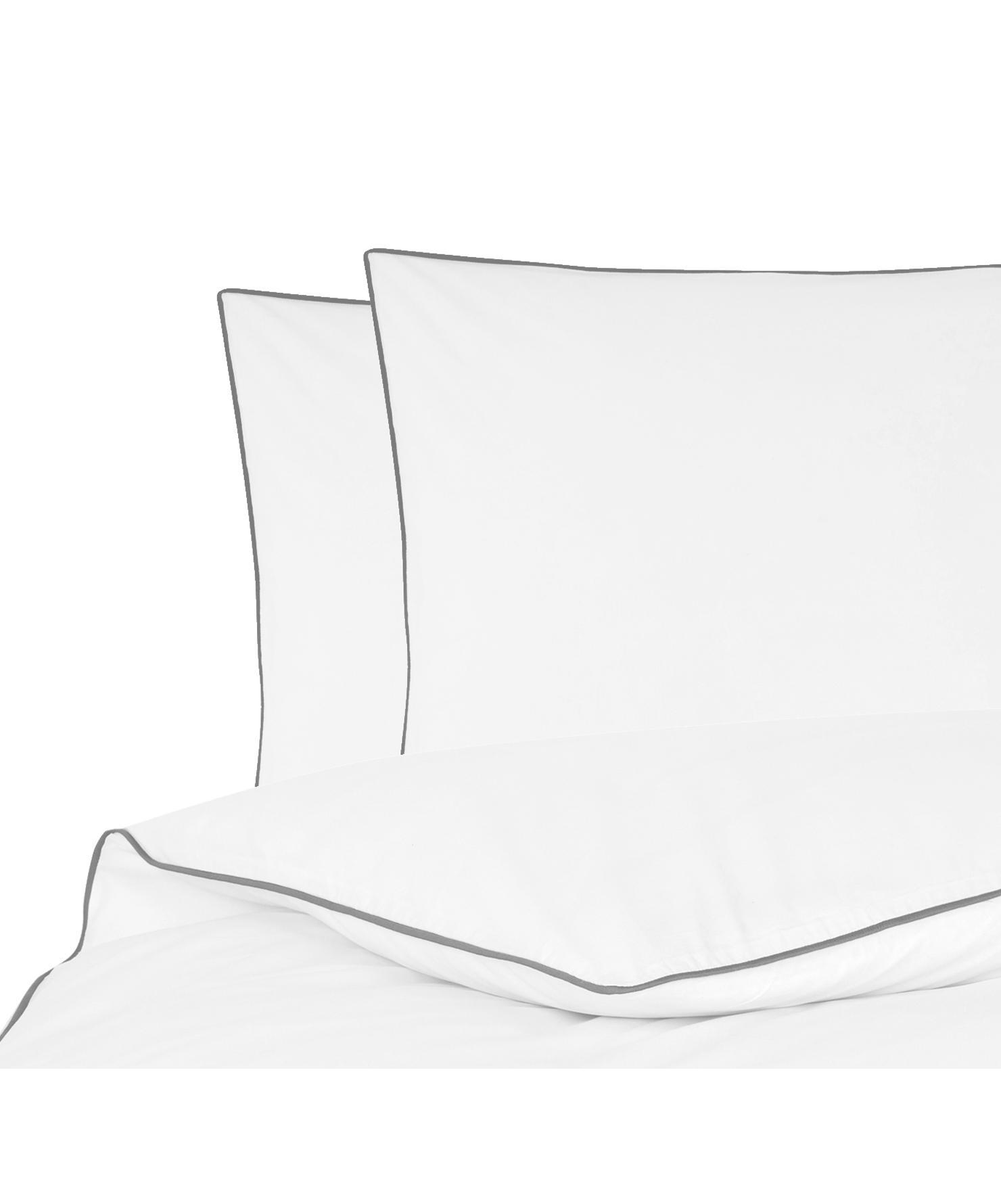 Pościel z perkalu z lamówką Daria, Biały Wykończenie brzegów: ciemny szary, 200 x 200 cm