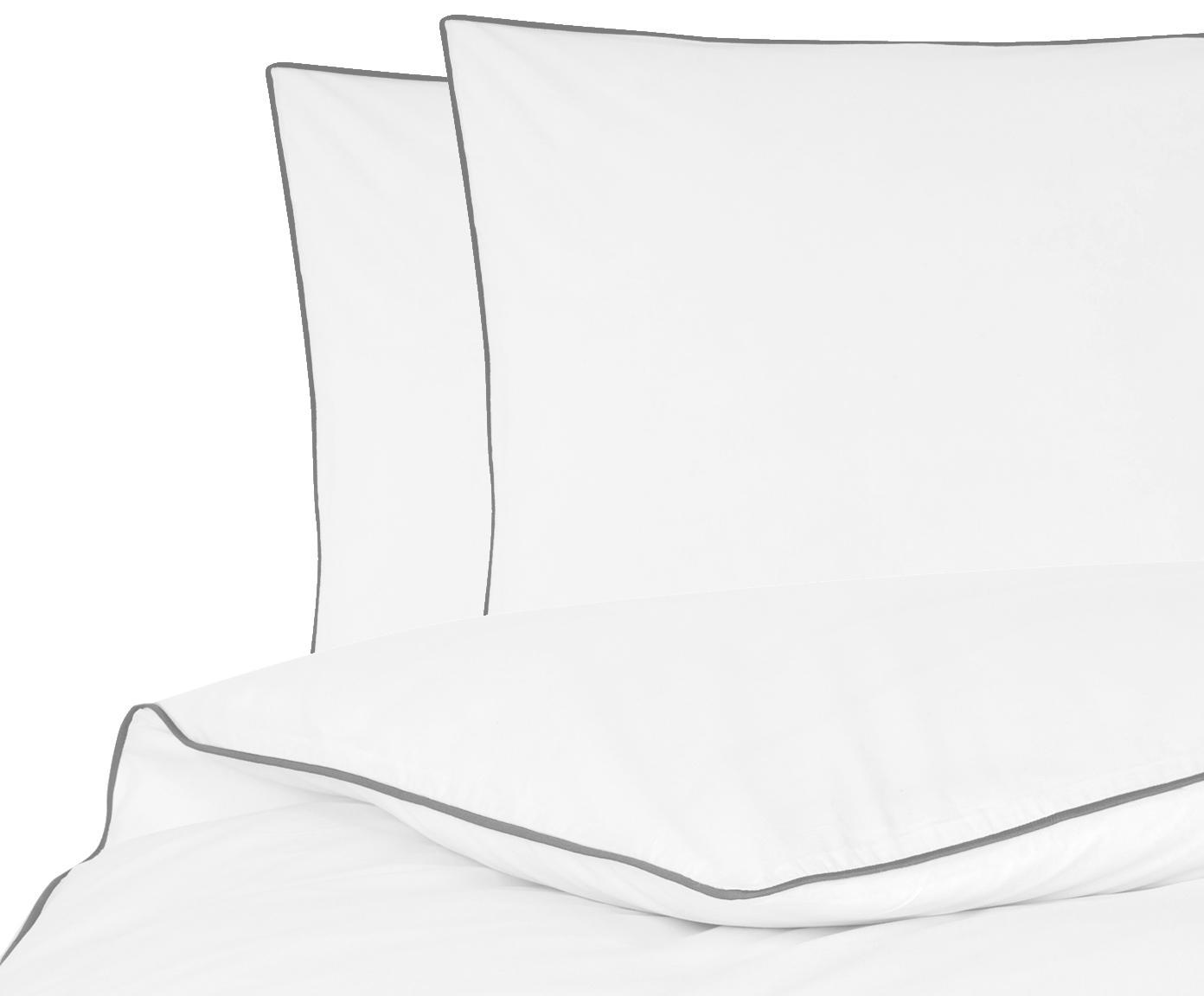 Baumwollperkal-Bettwäsche Daria in Weiß mit Keder, Webart: Perkal Fadendichte 200 TC, Weiß Kederumrandung: Dunkelgrau, 200 x 200 cm + 2 Kissen 80 x 80 cm