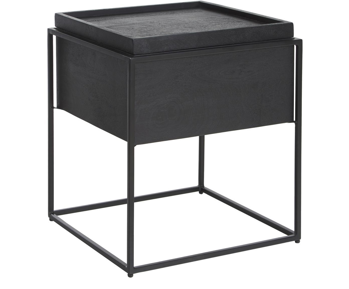 Mesa auxiliar Theo, con espacio de almacenamiento, Estructura: madera de mango maciza pi, Estructura: metal con pintura en polv, Negro, An 45 x Al 50 cm