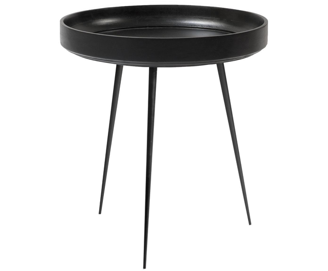 Stolik pomocniczy z drewna mangowego Bowl Table, Blat: drewno mangowe, barwiony , Nogi: stal, malowane proszkowo, Czarny, Ø 46 x W 52 cm