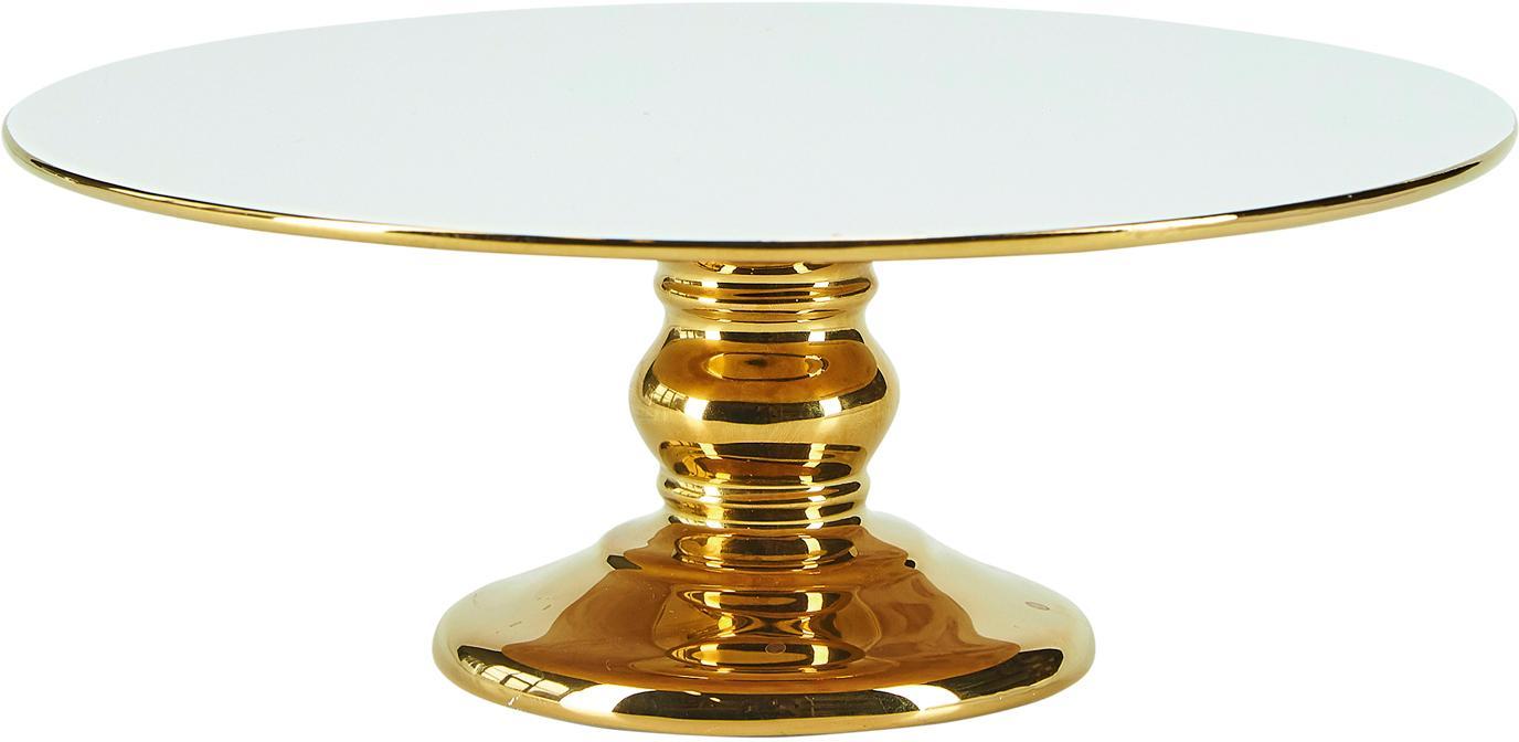Patera tortowa Tarta, Ceramika, Biały, odcienie złotego, Ø 26 x W 10 cm
