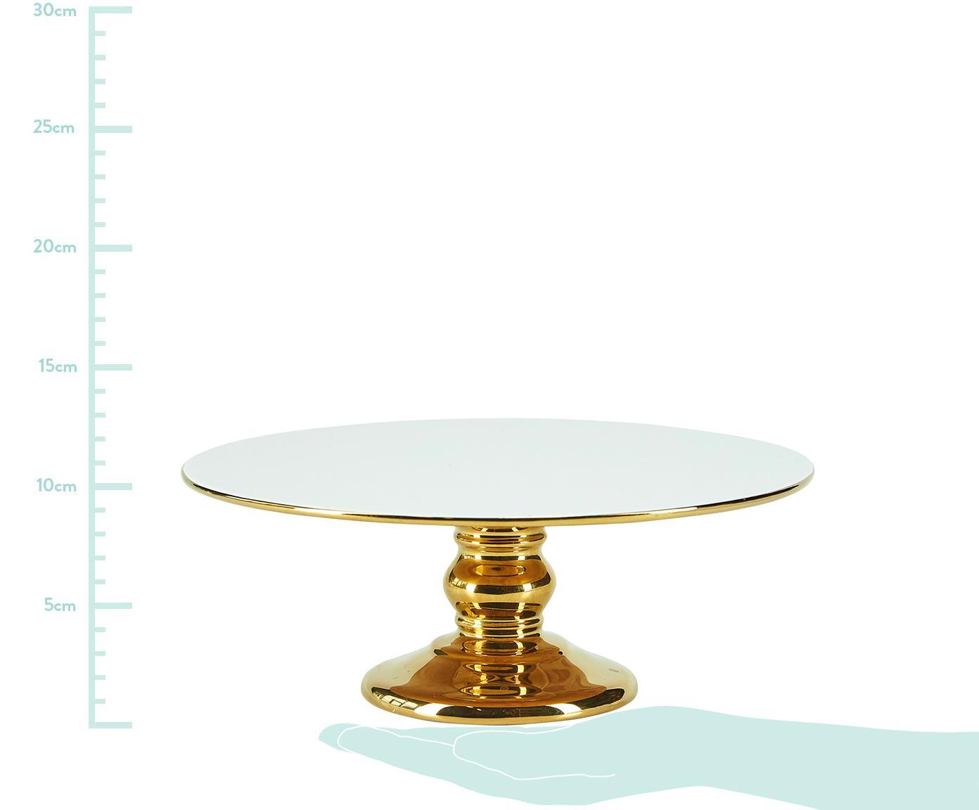 Taartplateau Tarta, Keramiek, Wit, goudkleurig, Ø 26 x H 10 cm