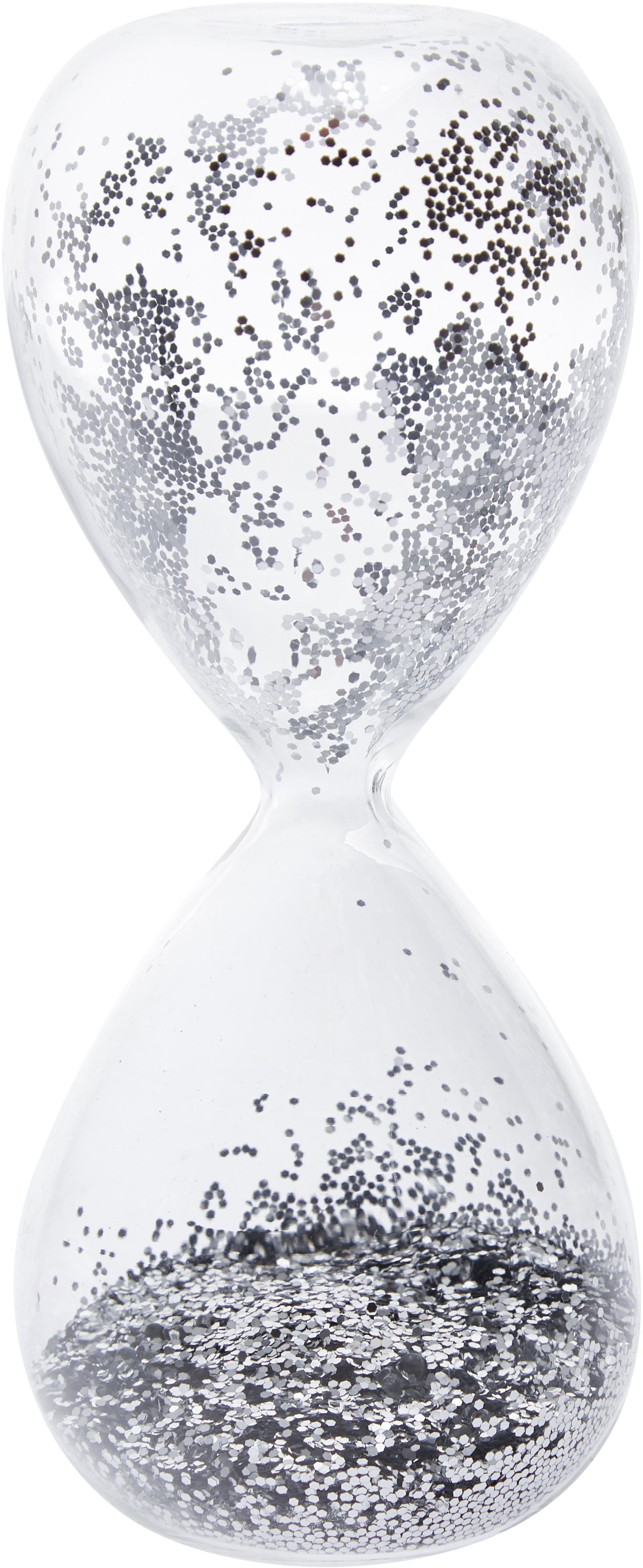 Decoratief object Hourglass, Transparant, zilverkleurig, Ø 7 x H 16 cm