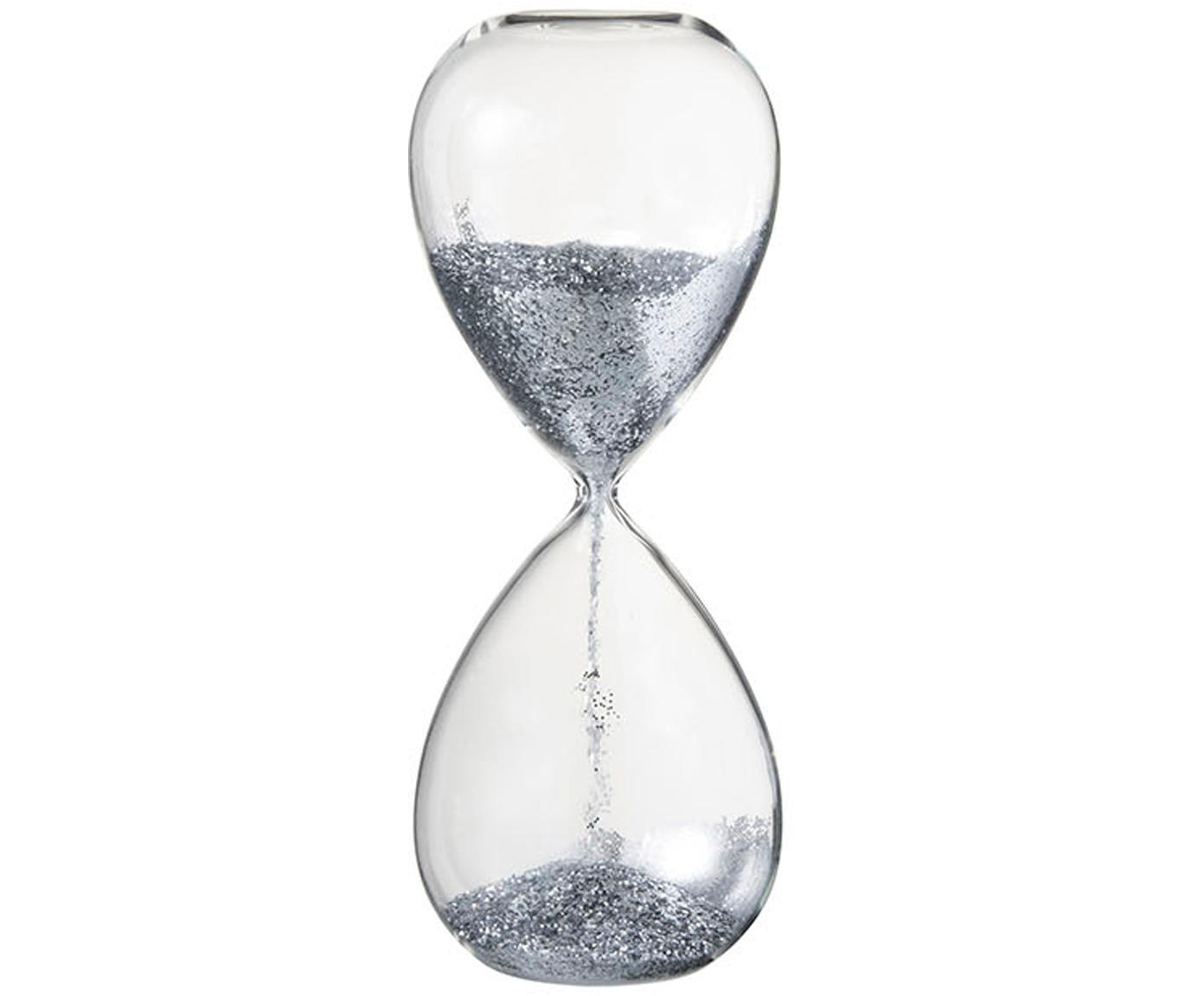 Reloj de arena Perleen, Recipiente: vidrio, Transparente, plateado, Ø 7 x Al 16 cm