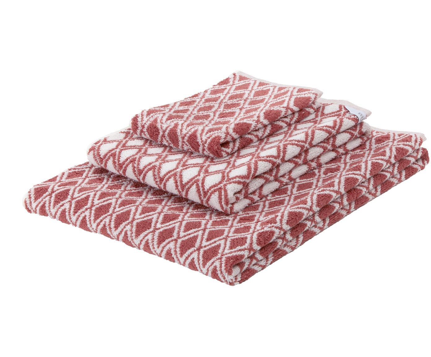 Set asciugamani reversibili Ava, 3 pz., 100% cotone, qualità media 550g/m², Terracotta, bianco crema, Diverse dimensioni