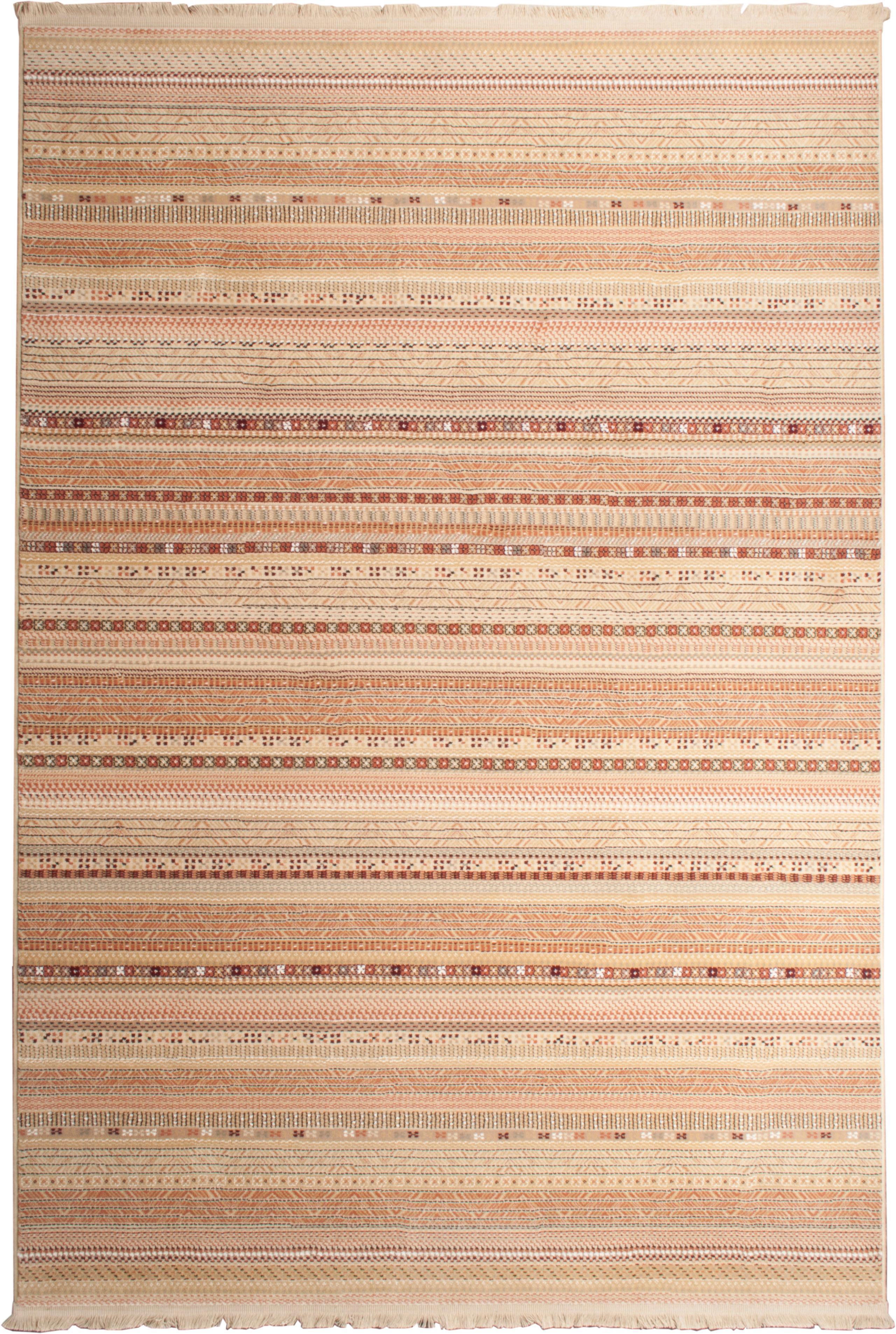 Teppich Nepal mit bunten Details und Fransen, Flor: 90% Polypropylen, 10% Vis, Beige, Mehrfarbig, B 160 x L 235 cm (Grösse M)
