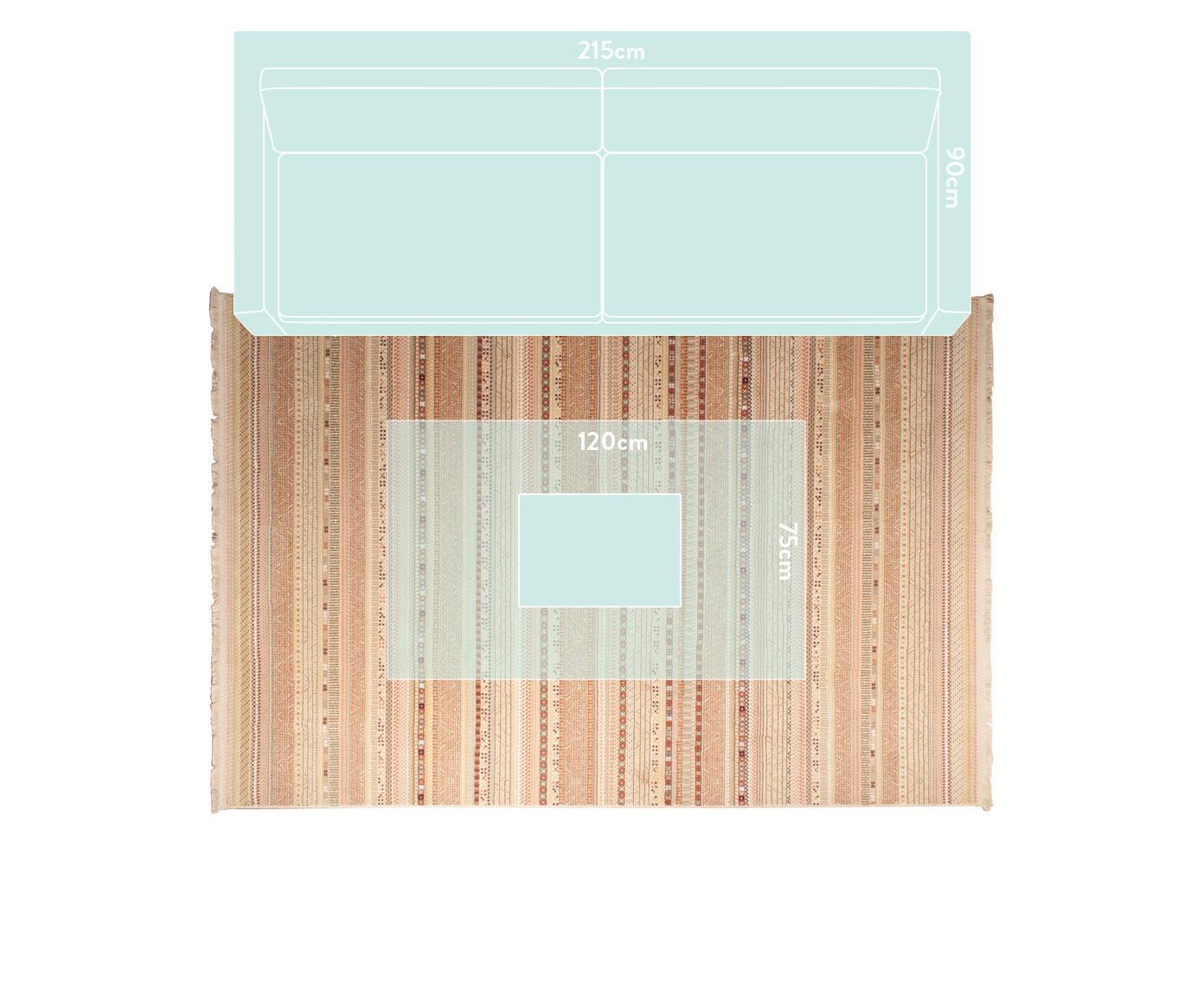 Teppich Nepal mit bunten Details und Fransen, Flor: 90% Polypropylen, 10% Vis, Beige, Mehrfarbig, B 200 x L 295 cm (Größe L)
