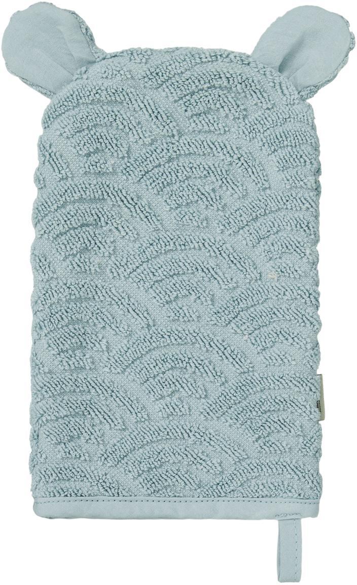 Manopla de baño de algodón ecológico Wave, Algodón orgánico, Azul, An 15 x L 22 cm