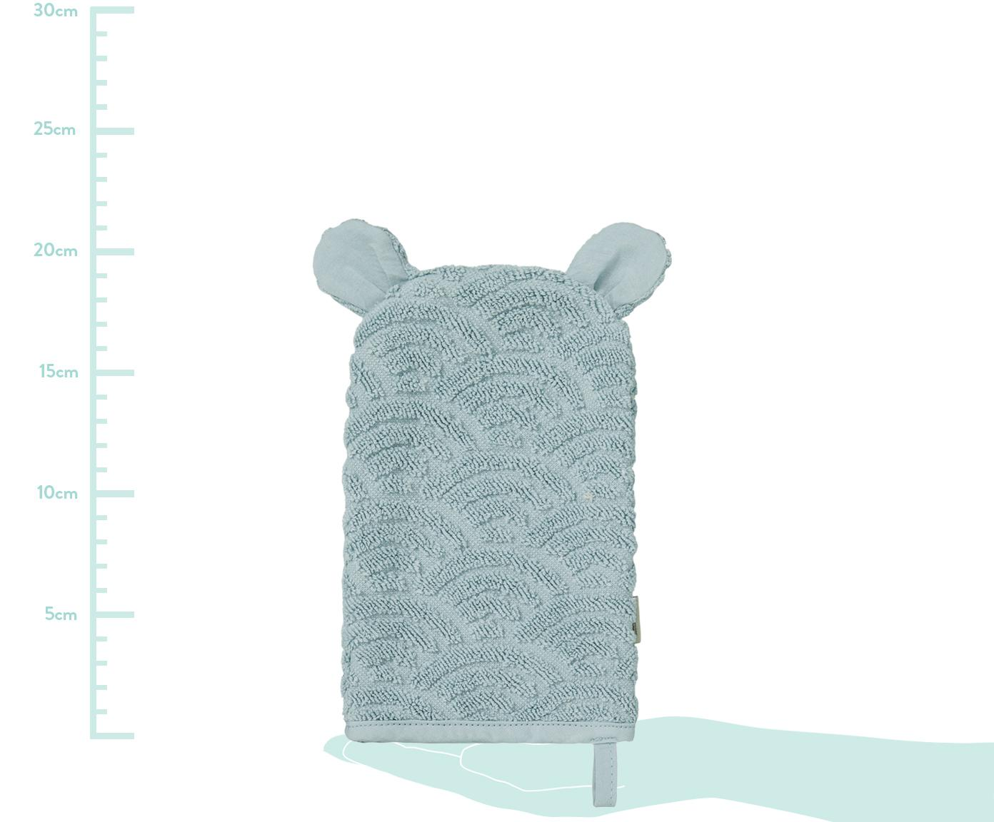 Waschlappen Wave aus Bio-Baumwolle, Bio-Baumwolle, GOTS-zertifiziert, Blau, 15 x 22 cm