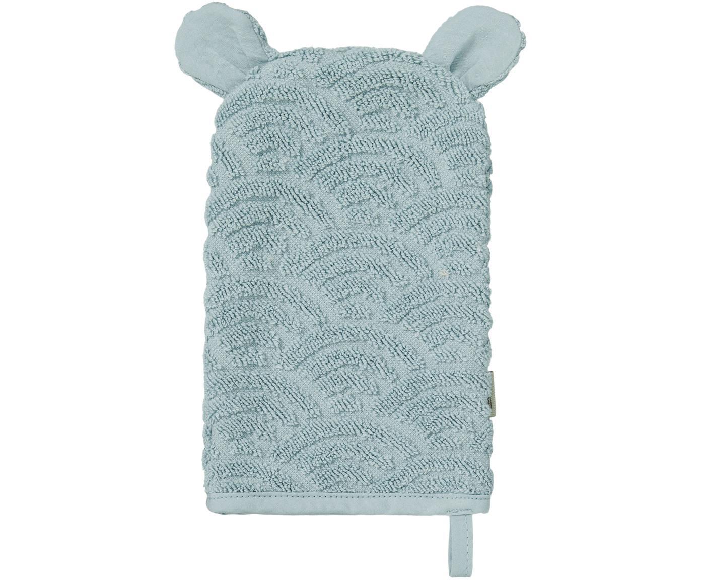 Guanto per bagnetto in cotone organico Wave, Cotone organico, certificato GOTS, Blu, Larg. 15 x Lung. 22 cm