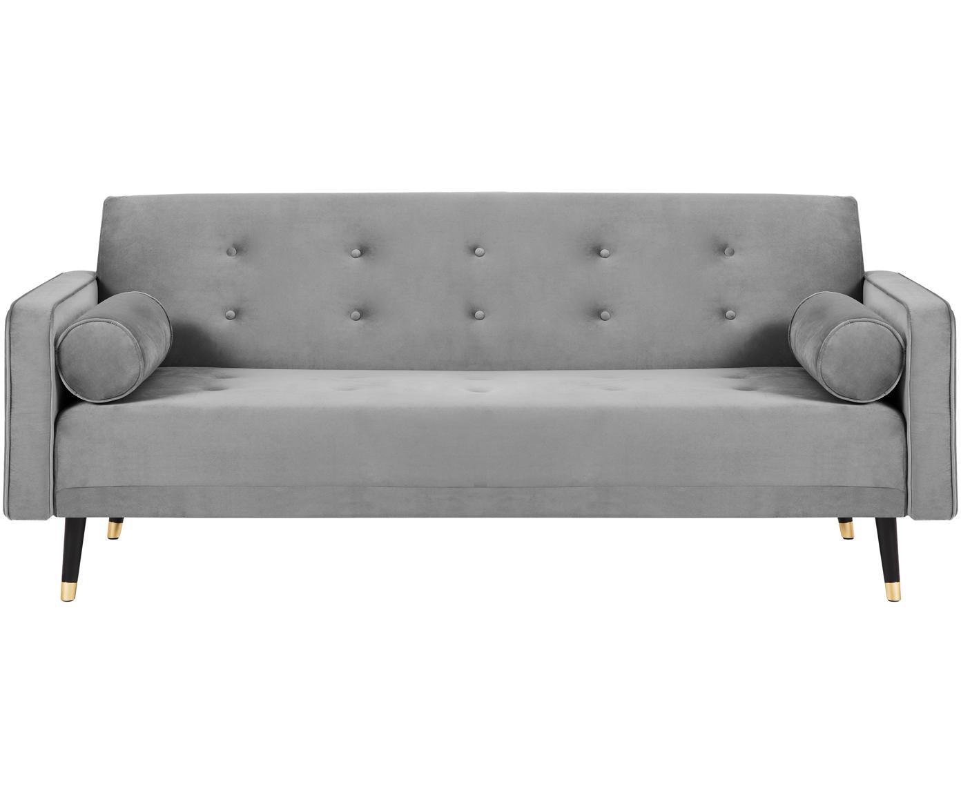 Samt-Schlafsofa Gia (3-Sitzer), Bezug: Polyestersamt, Rahmen: Massives Kiefernholz, Füße: Buchenholz, lackiert, Samt Hellgrau, B 212 x T 93 cm