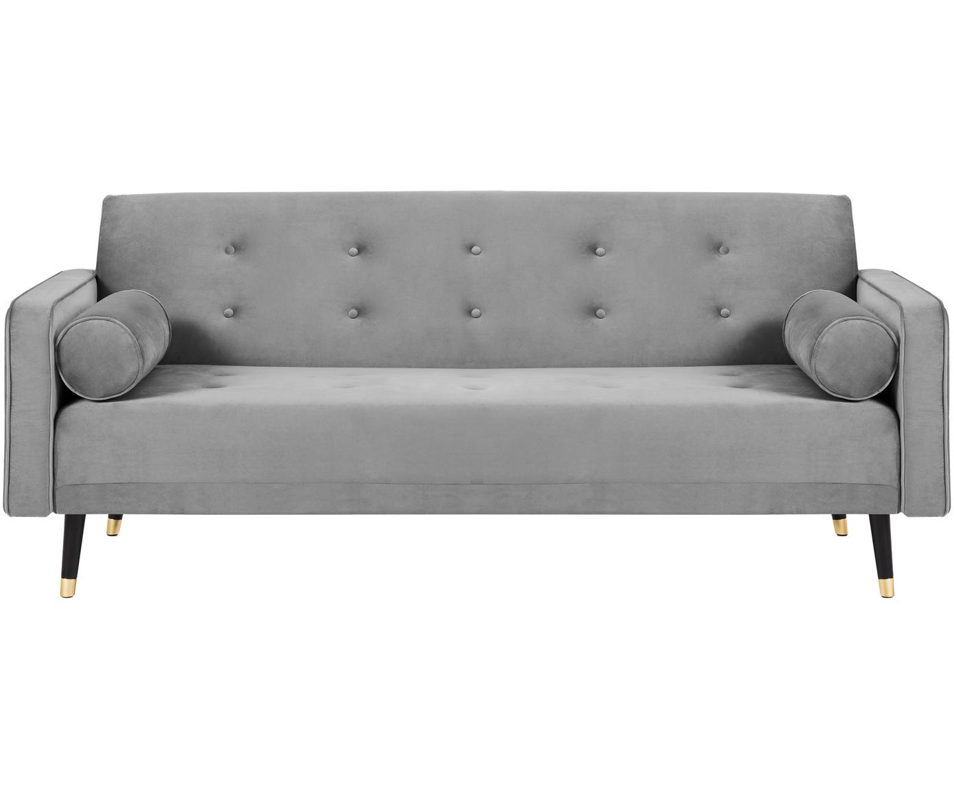 Sofa rozkładana z aksamitu Gia (3-osobowa), Tapicerka: aksamit poliestrowy, Nogi: drewno bukowe, lakierowan, Jasny szary, S 212 x G 93 cm