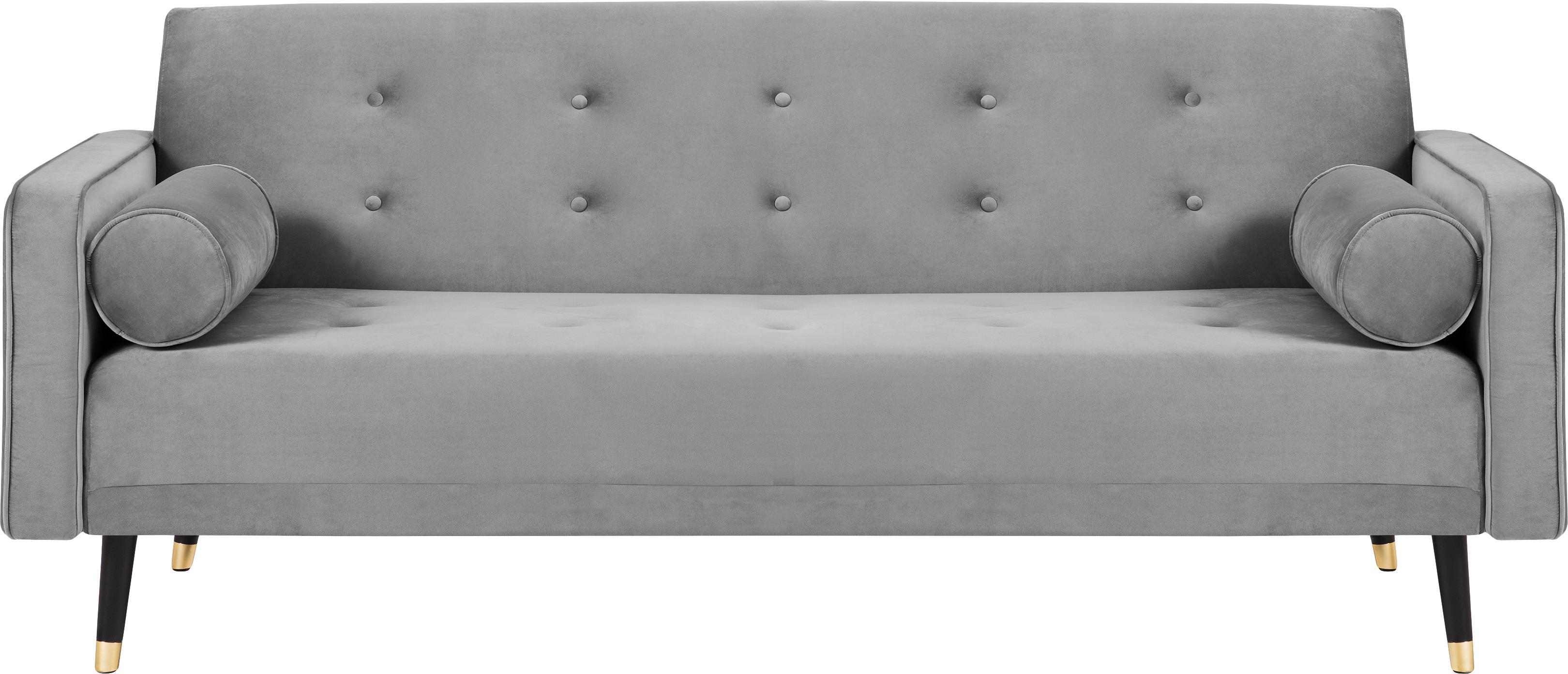 Sofá cama de terciopelo Gia (3plazas), Tapizado: terciopelo de poliéster, Estructura: madera de pino maciza, Patas: madera de haya pintada, Gris claro, An 212 x F 93 cm