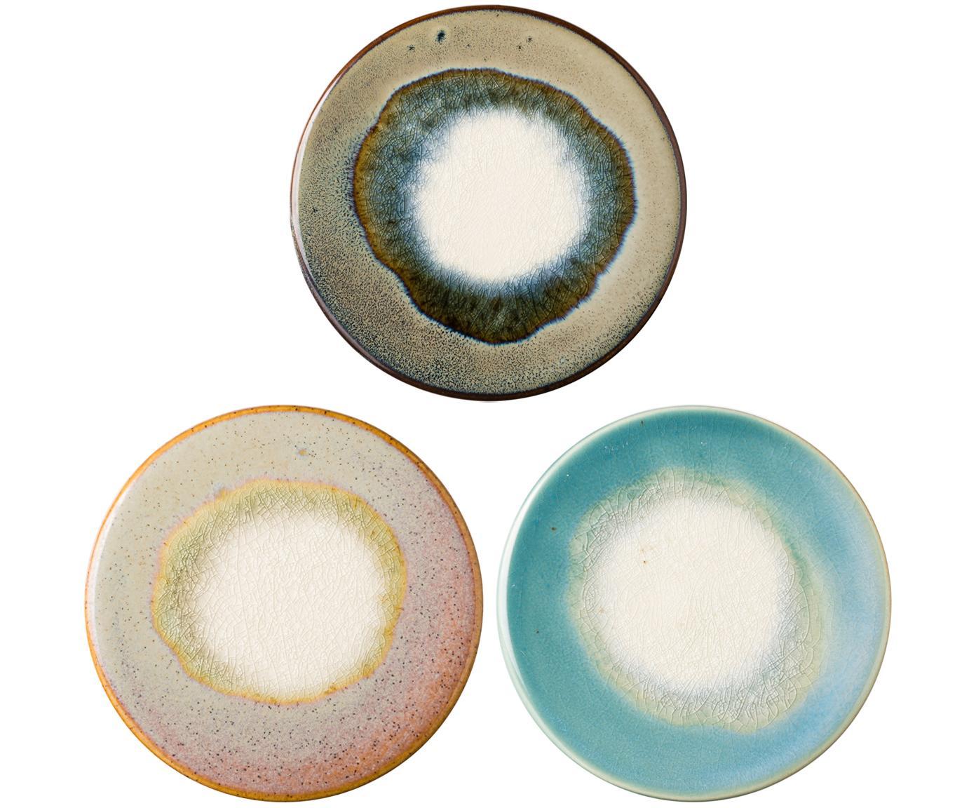 Onderzetter set Felicitas, 3-delig., Onderzijde: kurk, Blauwtinten, bruintinten, rozetinten, groentinten, Ø 11 x H 1 cm