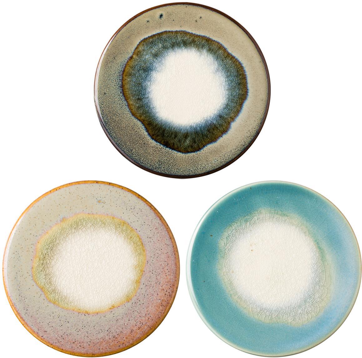 Set sottobicchieri Felicitas, 3 pz., Blu, marrone, rosa, verde, Ø 11 x A 1 cm