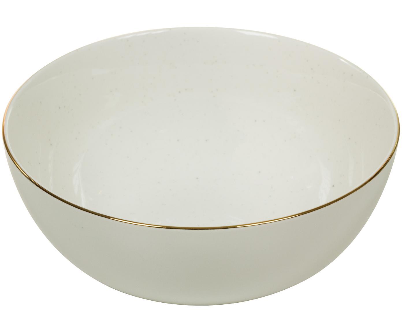 Ciotola fatta a mano con bordo dorato Bol, Porcellana, Bianco crema, Ø 22 x Alt. 10 cm