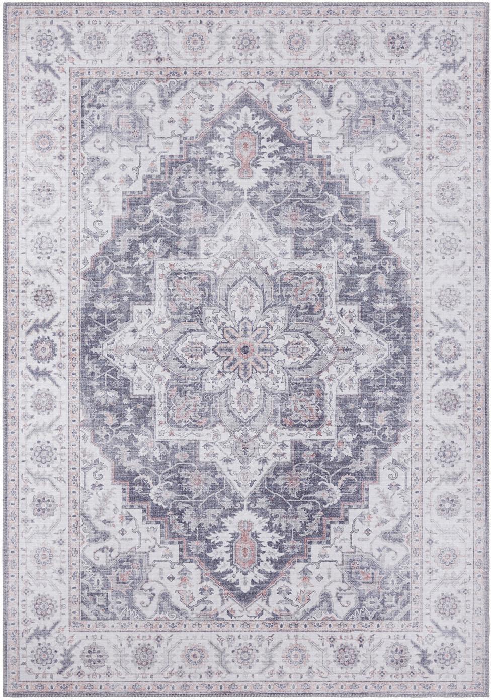 Teppich Anthea im Vintage Style, Blau-Grau, Mauve, B 120 x L 160 cm (Größe S)