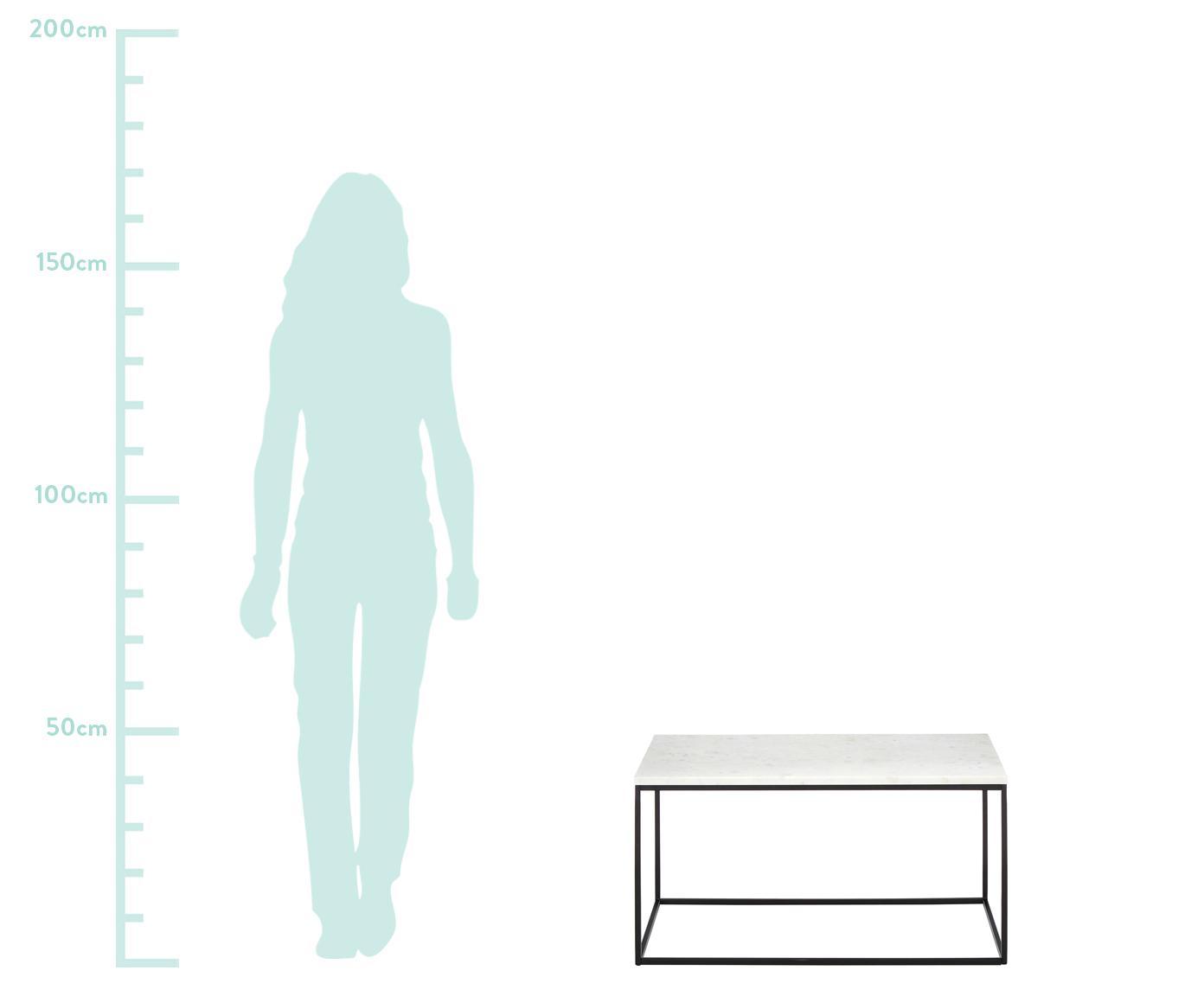 Mesa de centro de mármol Alys, Tablero: mármol natural, Estructura: metal con pintura en polv, Mármol blanco, negro, An 80 x Al 45 cm