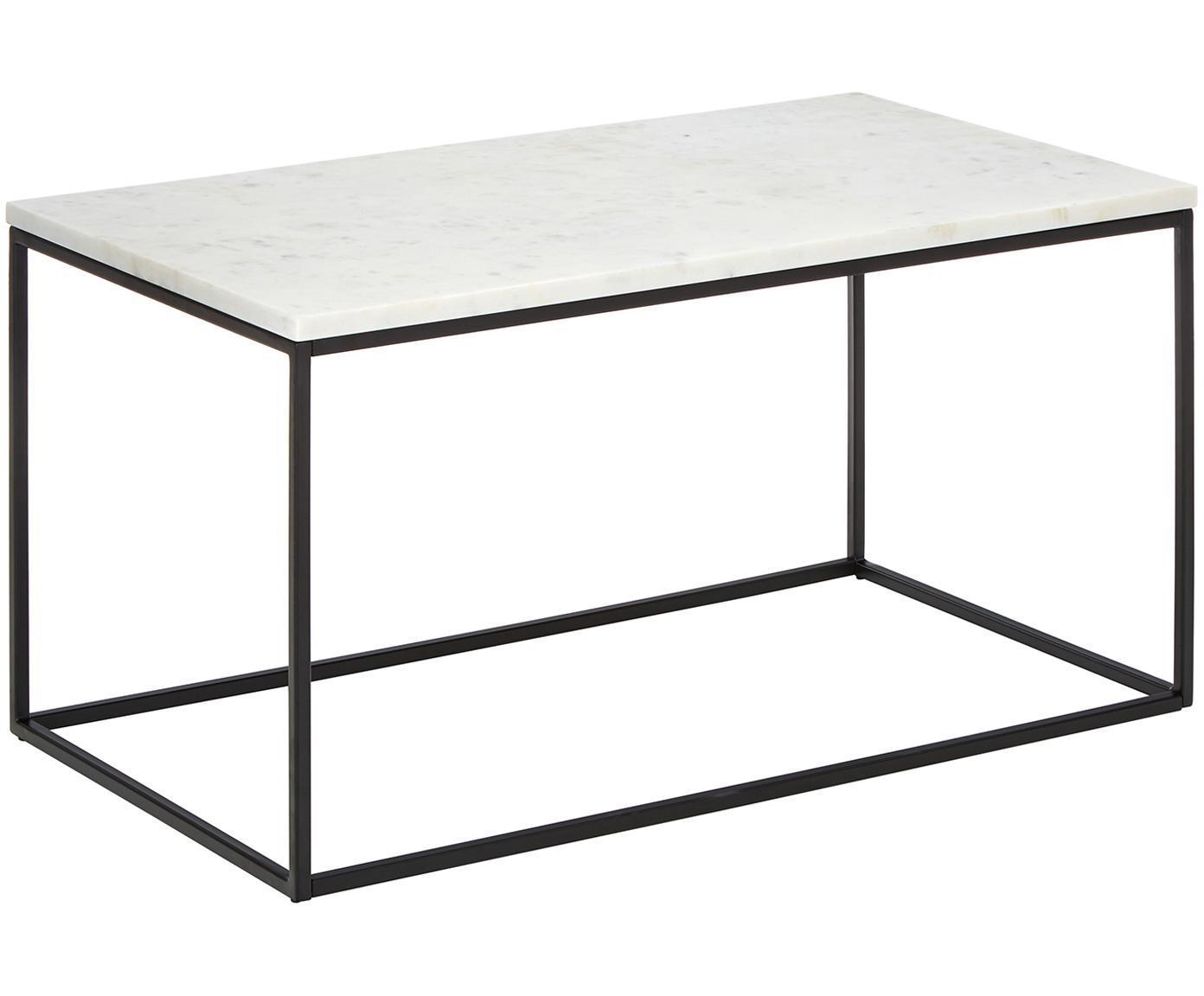 Marmeren salontafel Alys, Tafelblad: marmer, Frame: gepoedercoat metaal, Tafelblad: wit-grijs marmer. Frame: mat zwart, 80 x 45 cm