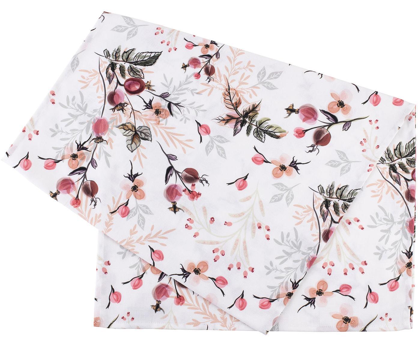 Camino de mesa Beas, 100%algodón, Rosa, blanco, An 50 x L 160 cm