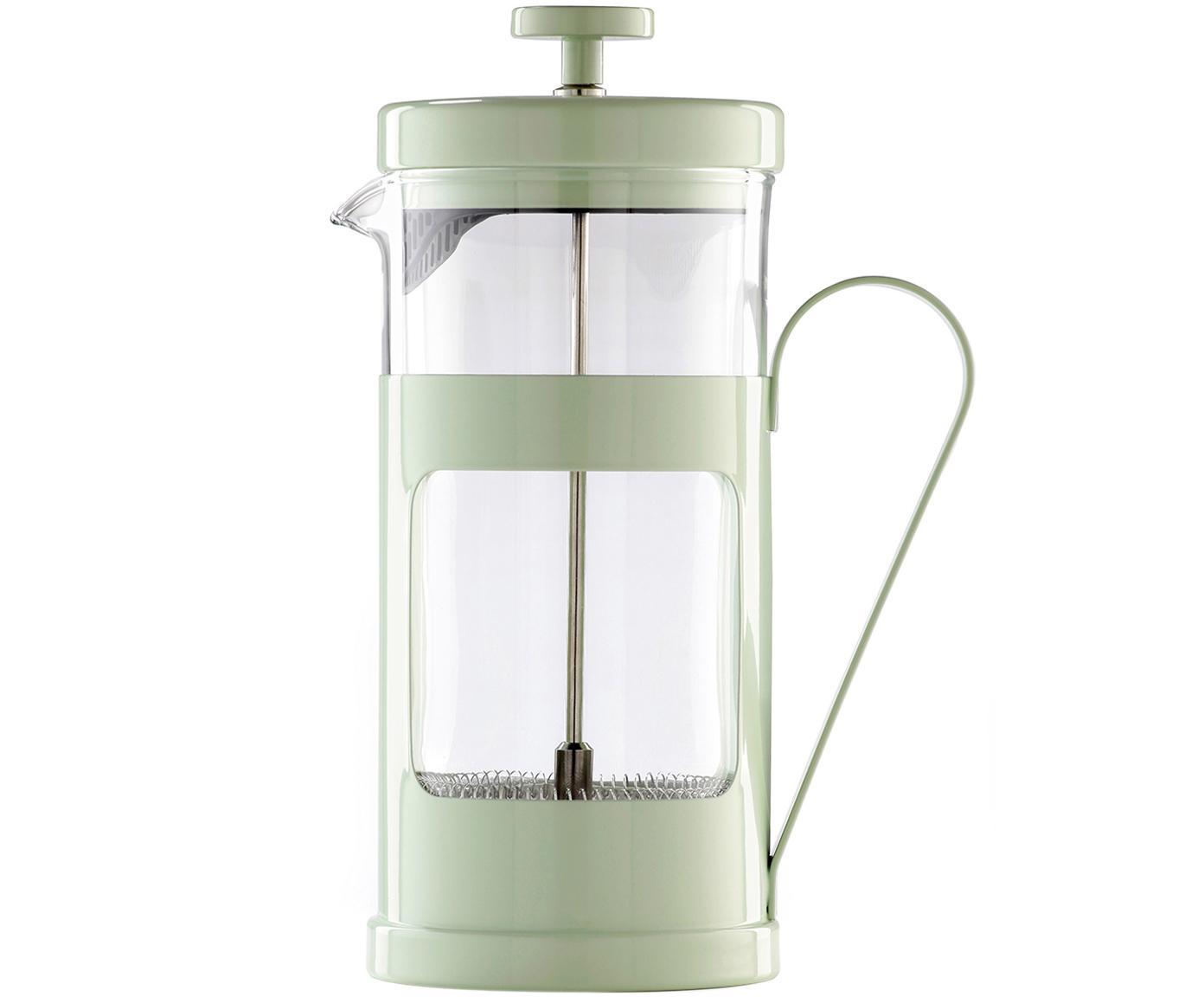 Caffettiera Monaco, Acciaio inossidabile verniciato, vetro borosilicato, Trasparente, menta, 1 l