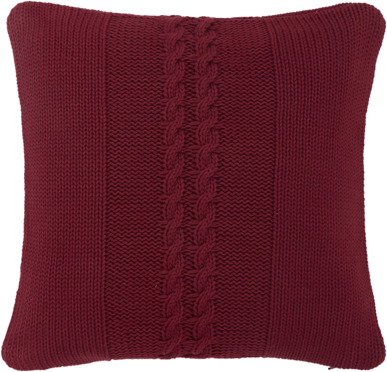 Federa arredo in cotone fatta a maglia Lucas, 100% cotone, Rosso scuro, Larg. 40 x Lung. 40 cm