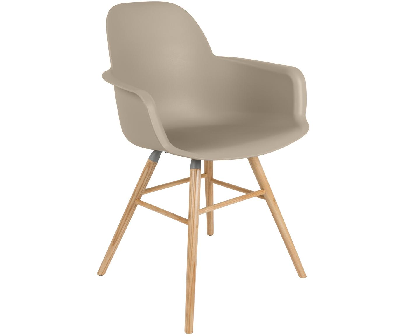 Sedia con braccioli Albert Kuip, Seduta: 100% polipropilene, Piedini: legno di frassino, Taupe, Larg. 59 x Prof. 55 cm